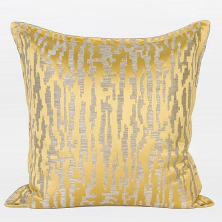 "Yellow Nonobjective Pattern Jacquard Pillow 22""X22"" - Gentille Home Collection - 1"