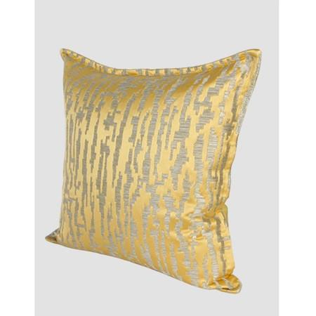 "Yellow Nonobjective Pattern Jacquard Pillow 22""X22"" - G Home Collection"