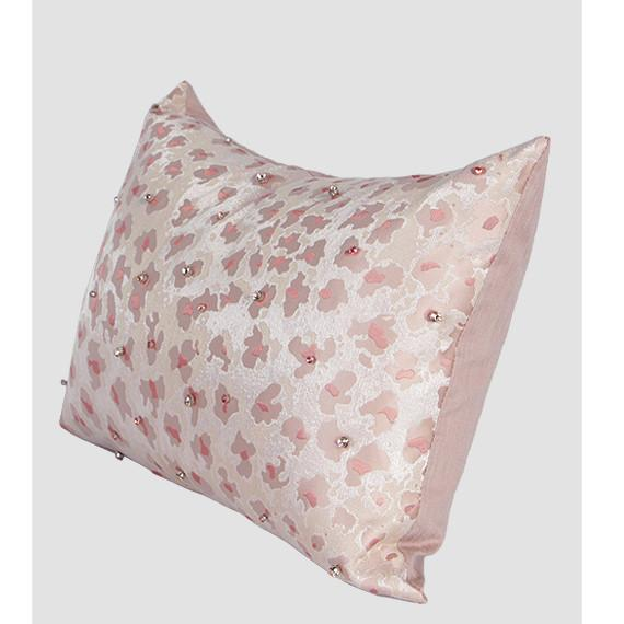 "Pink Leopard Pattern Handmade Beaded Pillow 14""X20"" - G Home Collection"