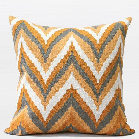 "Yellow Big Chevron Embroidered Pillow 20""X20"" - G Home Collection"