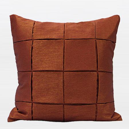 "Dark Orange Handmade Check Metallic Pillow 18""X18"" - Gentille Home Collection - 1"