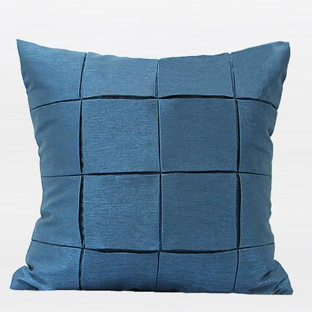 "Blue Handmade Check Metallic Pillow 18""X18"" - Gentille Home Collection - 1"