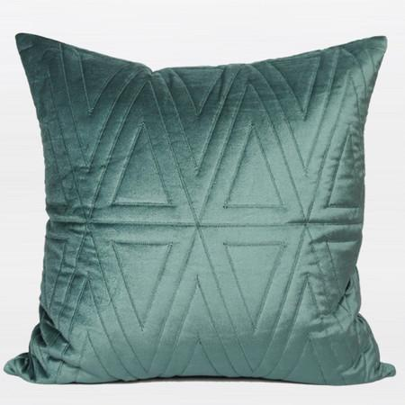 "Lack Blue Triangle Pattern Quilting Pillow 22""X22"" - G Home Collection"