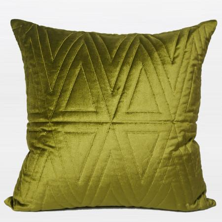 "Wasabi Green Triangle Pattern Quilting Pillow 22""X22"" - Gentille Home Collection - 1"