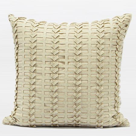 "Beige Handmade Textured Pillow 18""X18"" - Gentille Home Collection - 1"