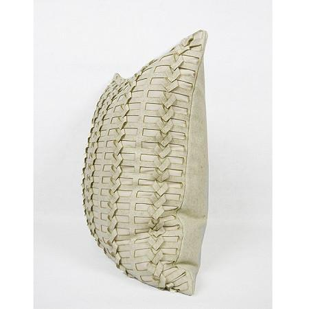 "Beige Handmade Textured Pillow 18""X18"" - G Home Collection"