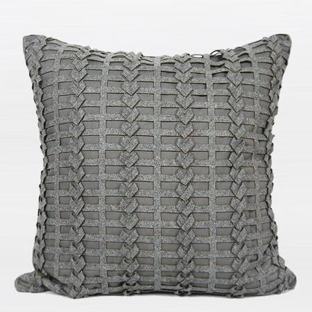 "Dark Gray Handmade Textured Pillow 18""X18"""