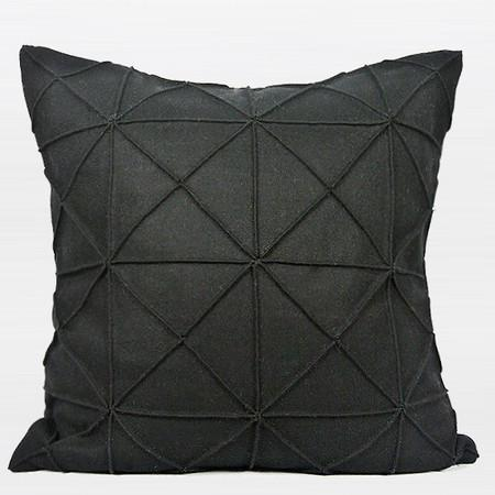 "Black Textured Checkered Pattern Wool Pillow 20""X20"" - Gentille Home Collection - 1"