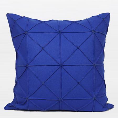 "Blue Textured Check Pattern Wool Pillow 20""X20"""