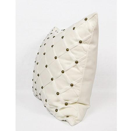 "White Handmade Diamond Pattern With Rivets Pillow 18""X18"" - G Home Collection"