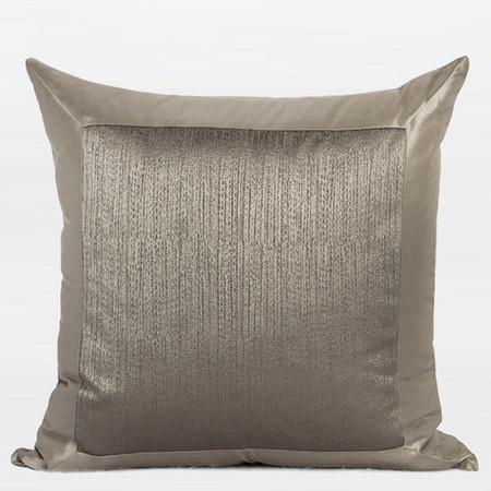 "Gray Gold Frame Splicing Pillow 20""X20"" - Gentille Home Collection - 1"
