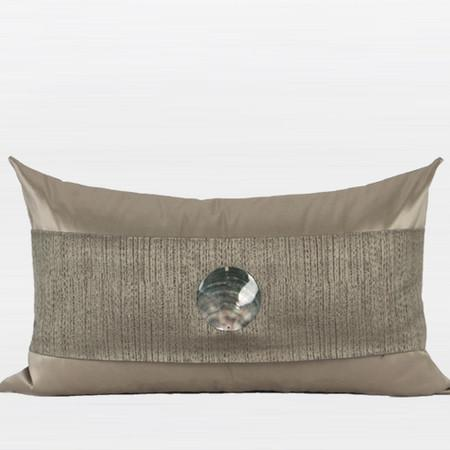 "Gray Gold Round Shell Splicing Pillow 12""X20"" - Gentille Home Collection - 1"