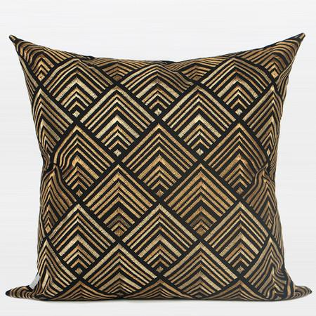 "Black and Gold Geometry Pattern Embroidered Pillow 20""X20"" - Gentille Home Collection - 1"