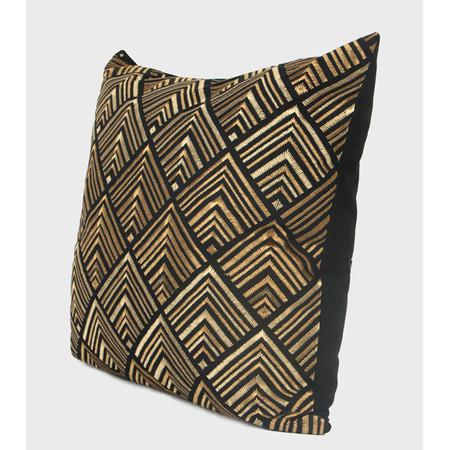 "Black and Gold Geometry Pattern Embroidered Pillow 20""X20"""