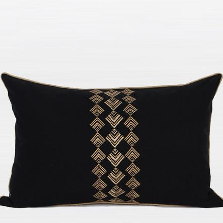 "Black And Gold Geometry Pattern Embroidered Pillow 14""X22"" - Gentille Home Collection - 1"