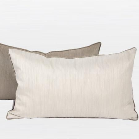 "White And Taupe Color Faux Silk Pillow 12""X20"" - Gentille Home Collection - 1"