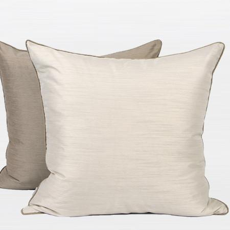 "White And Taupe Two Color Faux Silk Pillow 20""X20"" - Gentille Home Collection - 1"
