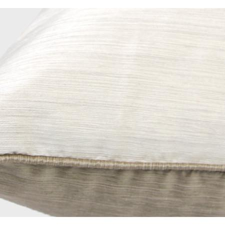 "White And Taupe Color Faux Silk Pillow 12""X20"" - G Home Collection"