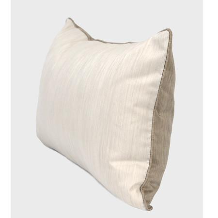 "White And Taupe Color Faux Silk Pillow 12""X20"""