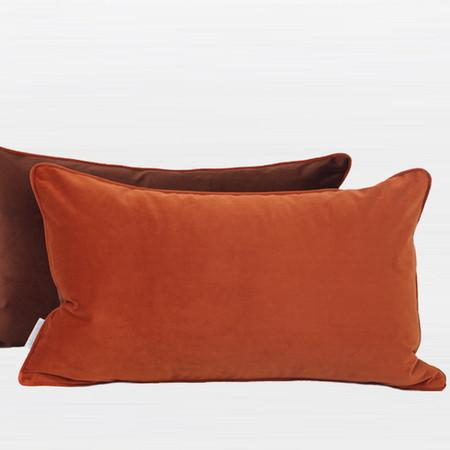 "Orange And Brown Two Color Flannel Fabric Pillow 12""X20"" - Gentille Home Collection - 1"