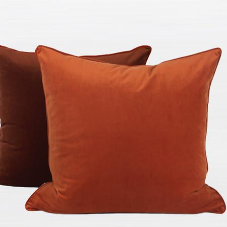 "Orange And Brown Two Color Flannel Fabric Pillow 20""X20"" - Gentille Home Collection - 1"