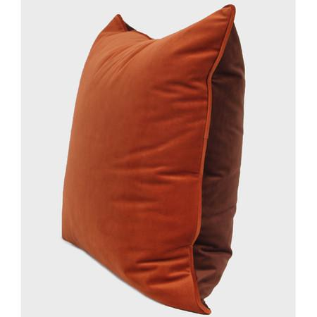 "Orange And Brown Two Color Flannel Fabric Pillow 20""X20"""