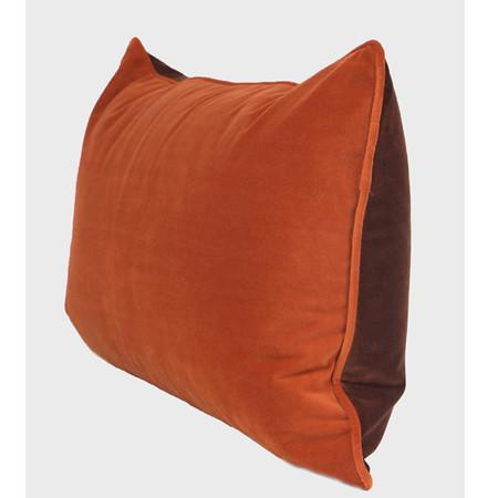 "Orange And Brown Two Color Flannel Fabric Pillow 12""X20"""