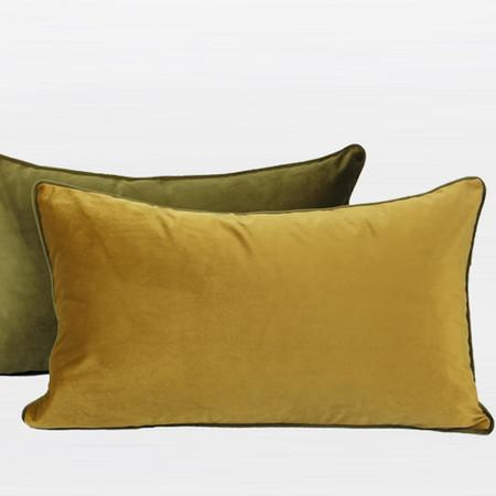"Wasabi Green And Yellow Two Color Flannel Fabric Pillow 12""X20"" - Gentille Home Collection - 1"