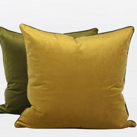 "Wasabi Green And Yellow Two Color Flannel Fabric Pillow 20""X20"" - Gentille Home Collection - 1"