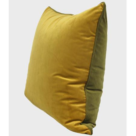 "Wasabi Green And Yellow Two Color Flannel Fabric Pillow 20""X20"""