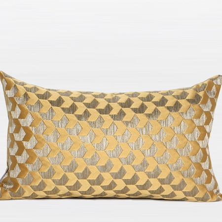 "Yellow Arrows Pattern Jacquard Pillow 12""X20"""