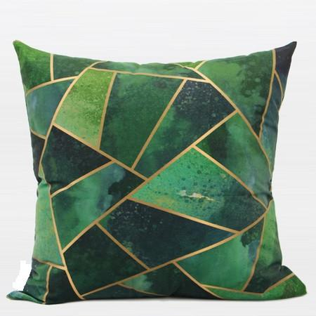 "Green Geometry Digital Printing Flannel Pillow 20""X20"" - Gentille Home Collection - 1"