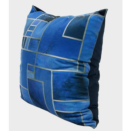 "Blue Geometry Digital Printing Flannel Pillow 20""X20"" - G Home Collection"