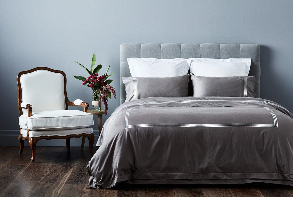 australian designed luxury organic cotton hotel collection sheet set in grey with white stitching