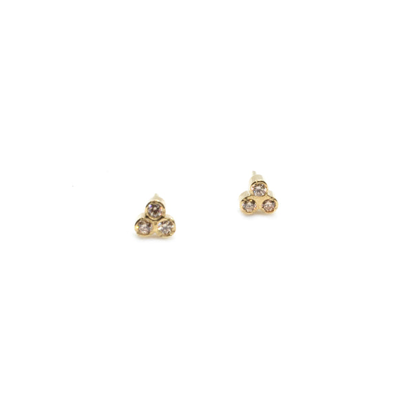 Triple Birthstone Studs