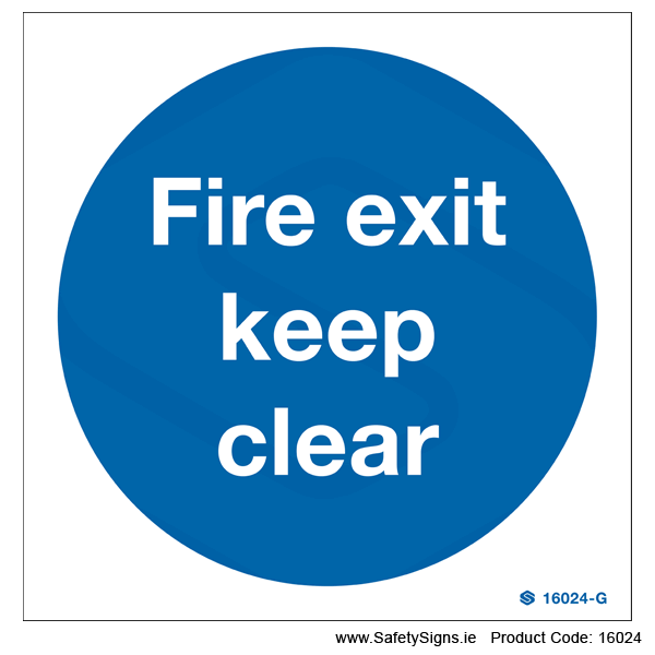 Fire Exit Keep Clear - 16024