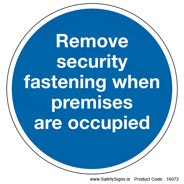 Remove Security Fastening (Circular) - 16072