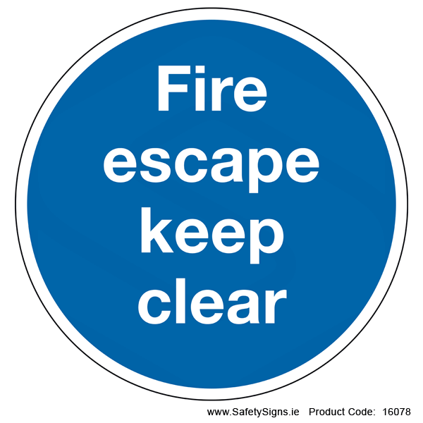 Fire Escape Keep Clear (Circular) - 16078
