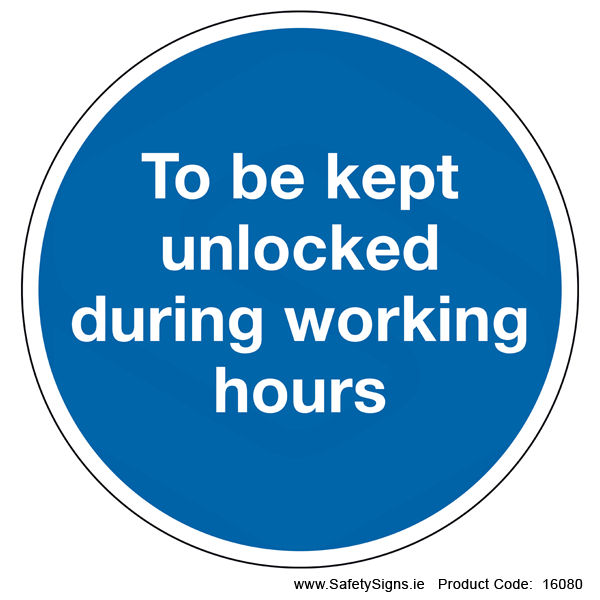 To be kept Unlocked (Circular) - 16080