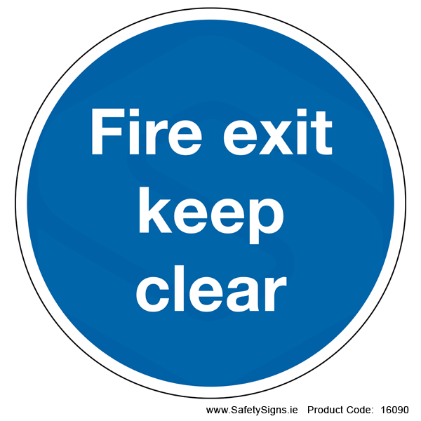 Fire Exit Keep Clear  (Circular) - 16090