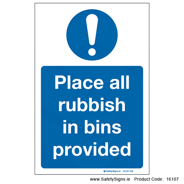 Place Rubbish in Bins - 16107