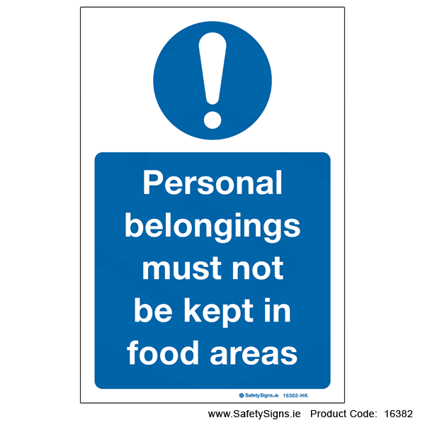 Personal Belongings in Food Areas - 16382