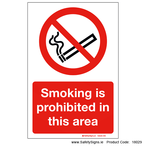 Smoking is Prohibited in this Area - 18029