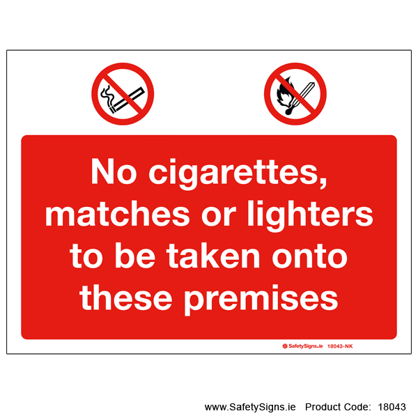 No Cigarettes Matches Lighters - 18043