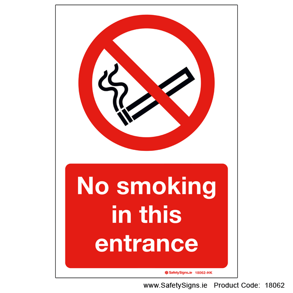 No Smoking in this Entrance - 18062