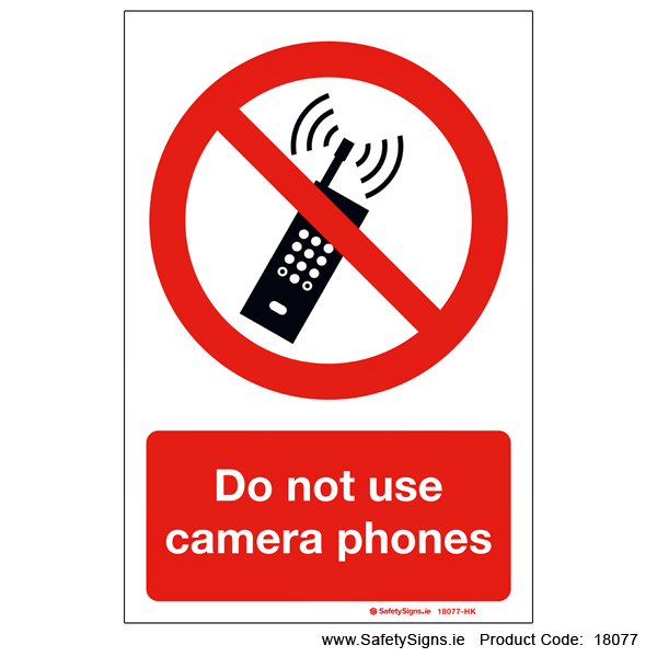 Do not use Camera Phones - 18077