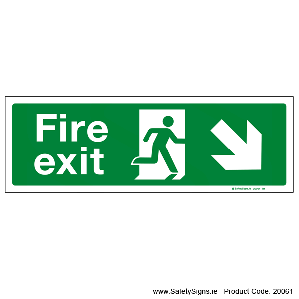 Fire Exit SG102 Arrow Down Right - 20061