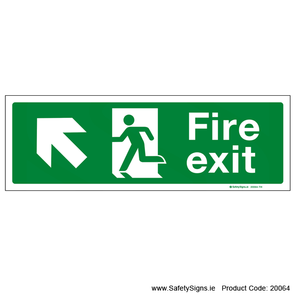 Fire Exit SG102 Arrow Up Left - 20064