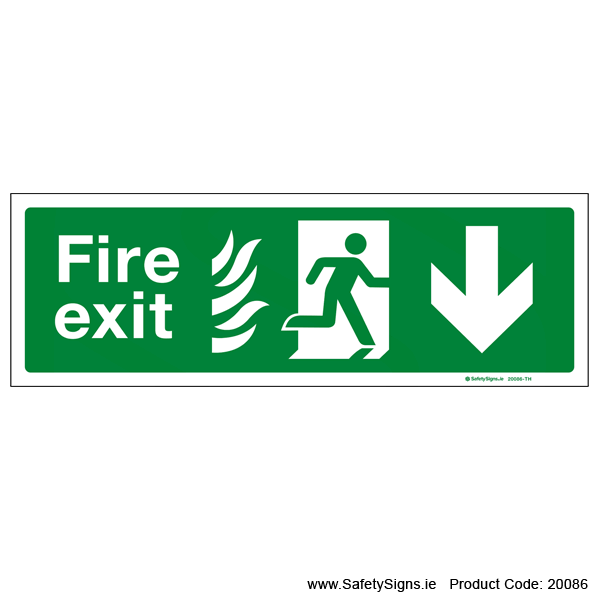 Fire Exit SG104 Arrow Down - 20086