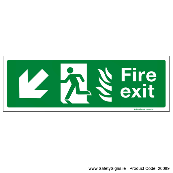 Fire Exit SG104 Arrow Down Left - 20089